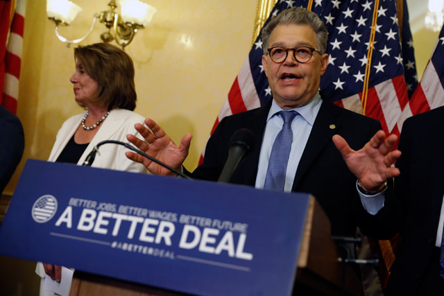 Sen. Al Franken speaks at a news conference
