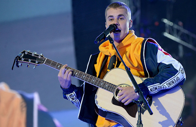 Justin Bieber performs on stage during the One Love Manchester
