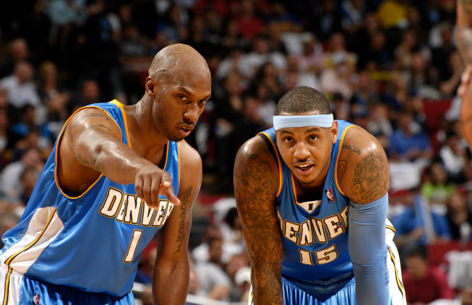 Chauncey Billups #1 and Carmelo Anthony #15 of the Denver Nuggets