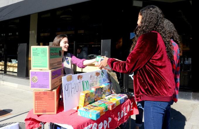 Molly Sheridan age 13, sells Girl Scout cookies in Chicago