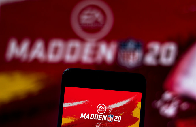 In this photo illustration the Madden NFL 20 logo