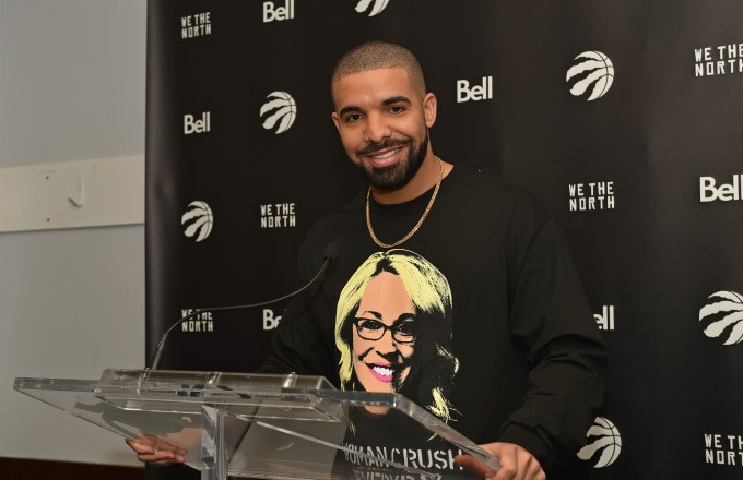Drake holds a press conference before a Raptors game.