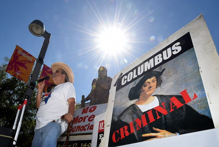 A protest against Columbus Day