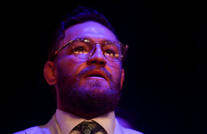 UFC fighter Conor McGregor watches his team-mate, Kiefer Crosbie