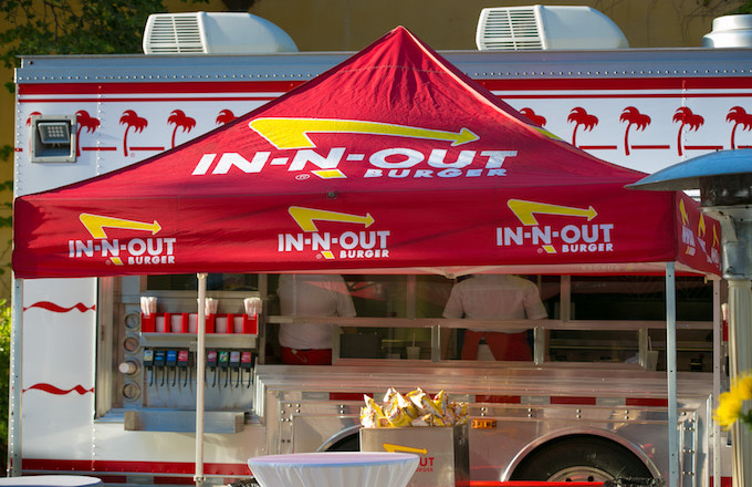 An In-N-Out Burger catering truck.