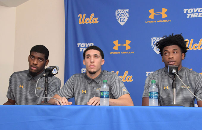 UCLA players Jalen Hill, LiAngelo Ball and Cody Riley apologize during a press conference.