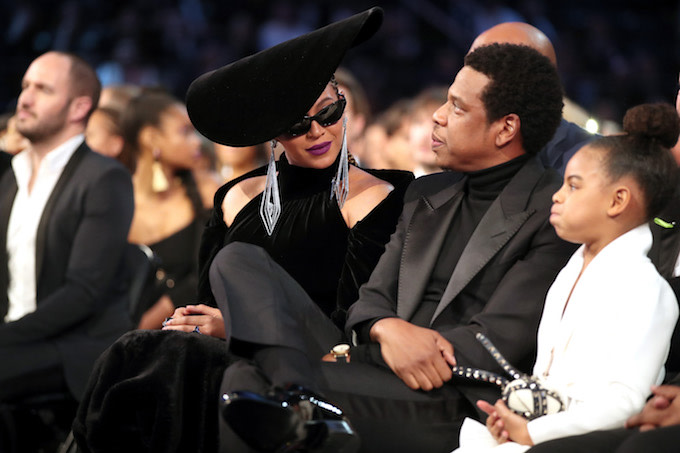 Beyonce, Jay Z and daughter Blue Ivy Carter attend the 60th Annual Grammy Awards.