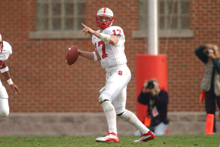 Philip Rivers of NC State looking to throw a pass