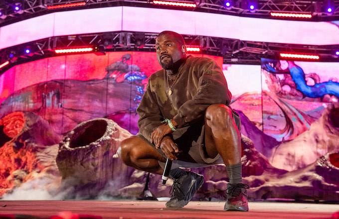 Kanye West performs during 2019 Coachella Valley Music And Arts Festival.