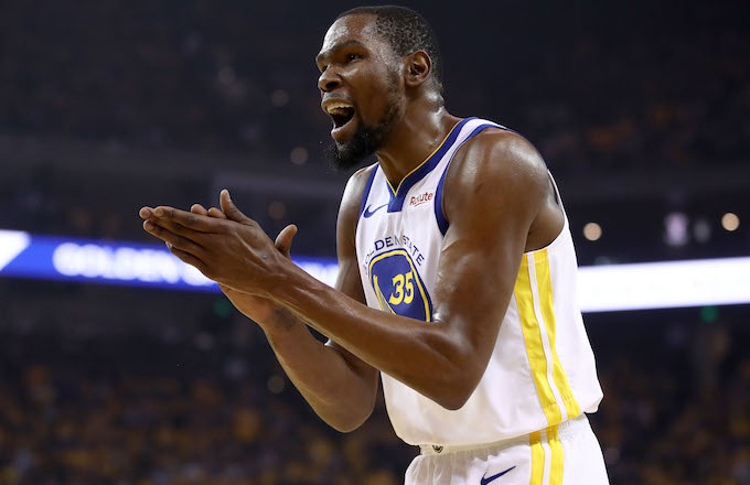 Kevin Durant reacts during their game against the Houston Rockets