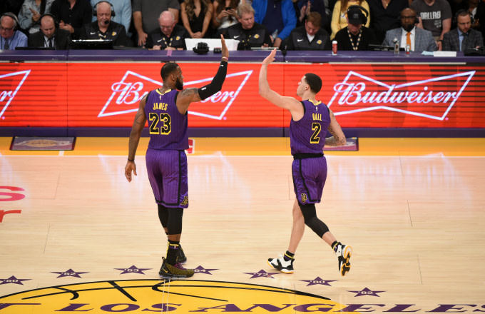 LeBron James #23 and Lonzo Ball #2 of the Los Angeles Lakers