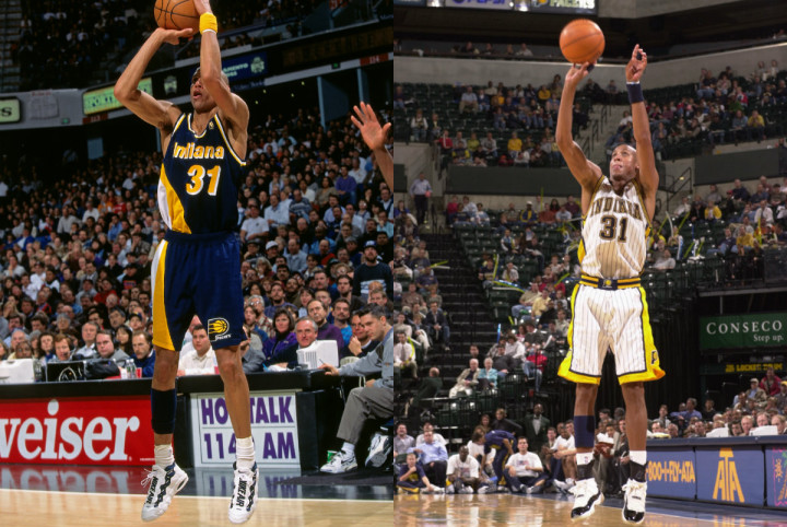 buy popular d7d71 e338f Reggie Miller wearin the Nike Air Money and Air Jordan XI. Image via Getty