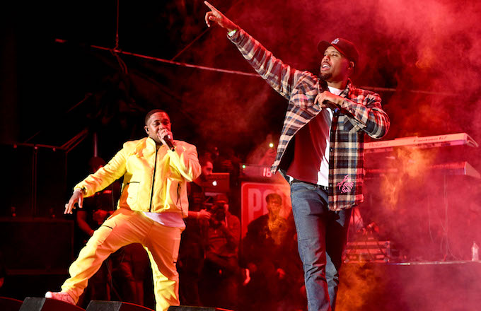 Mustard and Dom Kennedy perform onstage during The Liftoff presented by Power 106.