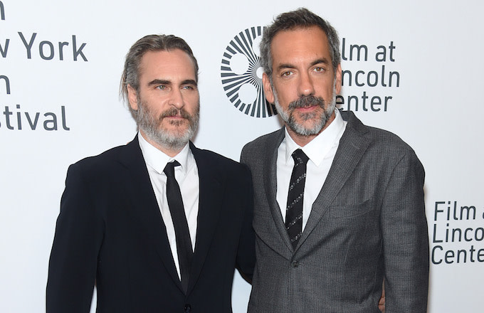 "Joaquin Phoenix and Todd Phillips attend the 57th New York Film Festival ""Joker."""