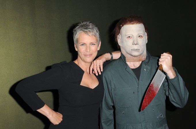 Jamie Lee Curtis with Michael Myers at the sCare Foundation's 1st Annual Halloween Launch Benefit
