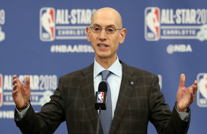 Adam Silver, NBA Commissioner, talks to the media
