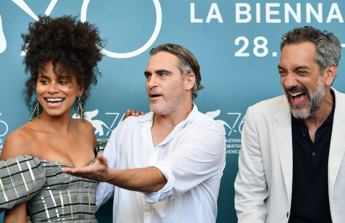 "Zazie Beetz, Joaquin Phoenix and Todd Phillips attend a photocall for ""Joker."""