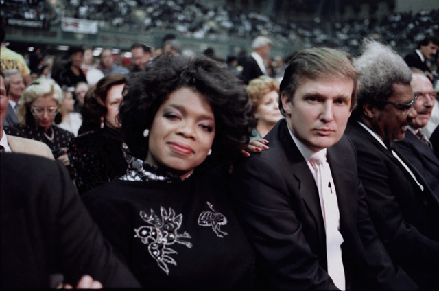 Donald Trump and Oprah Winfrey ringside at Tyson vs Spinks