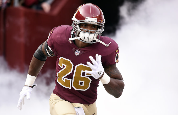 Adrian Peterson #26 of the Washington Redskins.