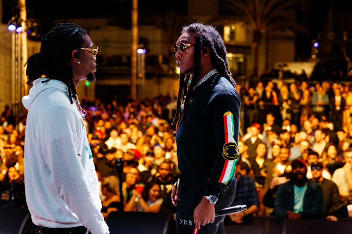 Offset and Takeoff perform onstage during 'All-Star Weekend Kick-Off Party'