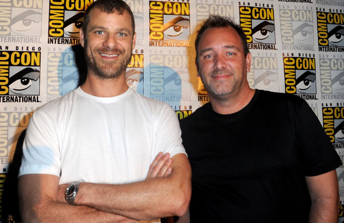 Matt Stone (L) with Trey Parker at Comic Con
