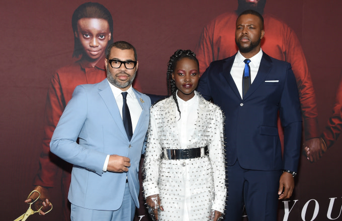Jordan Peele, Lupita Nyong'o and Winston Duke attend the 'US' premiere