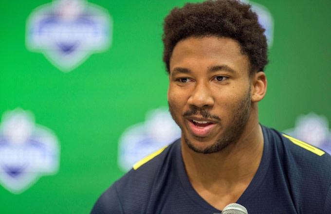 Myles Garrett speaks with reporters at NFL Combine.