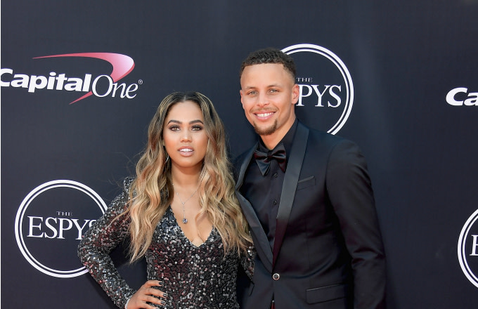 NBA player Steph Curry (R) and Ayesha Curry attend The 2017 ESPYS
