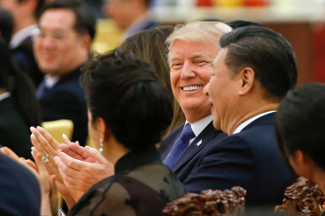 President Donald Trump and President Xi Jinping at the Great Hall of the People