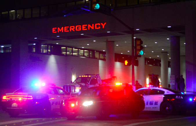 Dallas Police cars in front of the Baylor University medical center