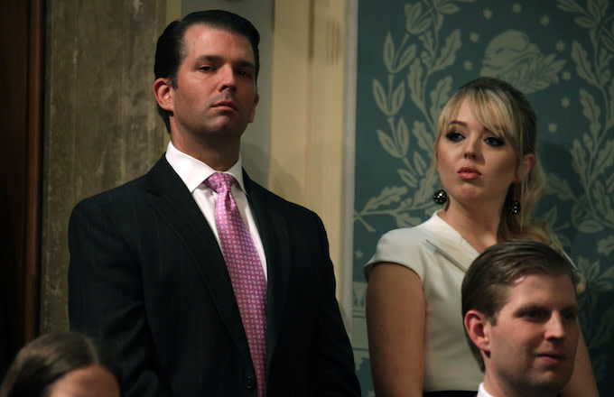 Donald Trump Jr., and Tiffany Trump attend the State of the Union address.
