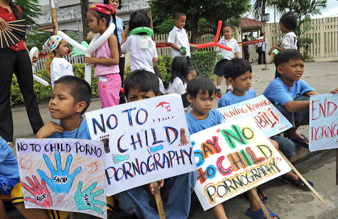 Child pornography protest in the Philippines.