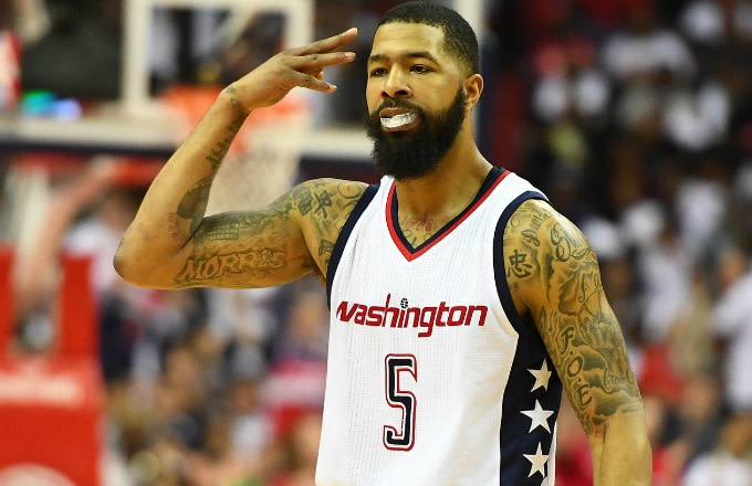 Markieff Morris reacts to a play during the Wizards playoff game against the Celtics.