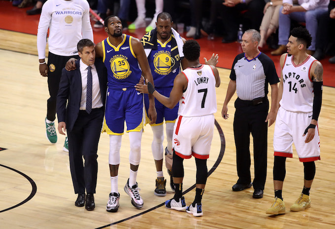 54b6f5aefaa Image via Getty. Kevin Durant suffered from another injury during Game 5 ...