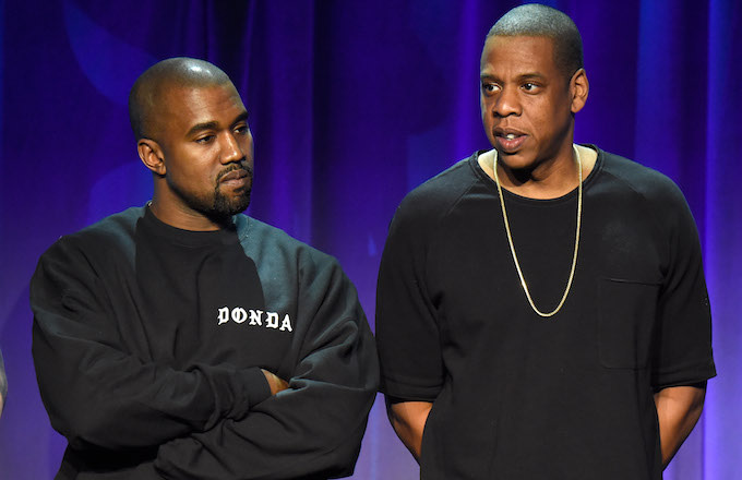 Kanye West and Jay Z attend the Tidal launch event #TIDALforALL at Skylight at Moynihan Station.