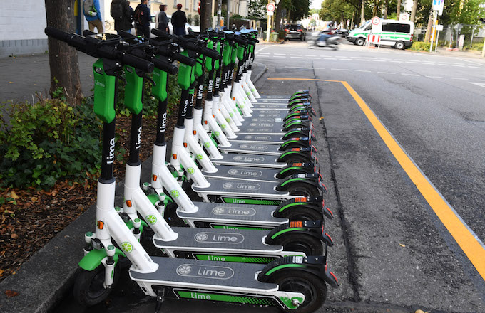 E-scooters are located near the Oktoberfest.