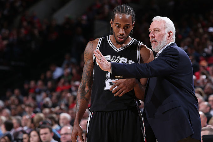 This is a picture of Gregg Popovich and Kawhi.