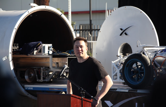 Elon Musk speaks at the Hyperloop pod competition.