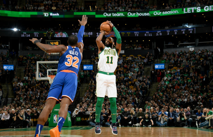 Kyrie Irving #11 of the Boston Celtics shoots the ball