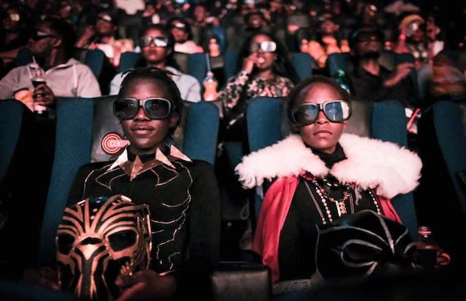 Girls watching 'Black Panther'