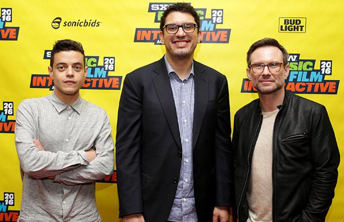 Rami Malek, Christian Slater, and Sam Esmail