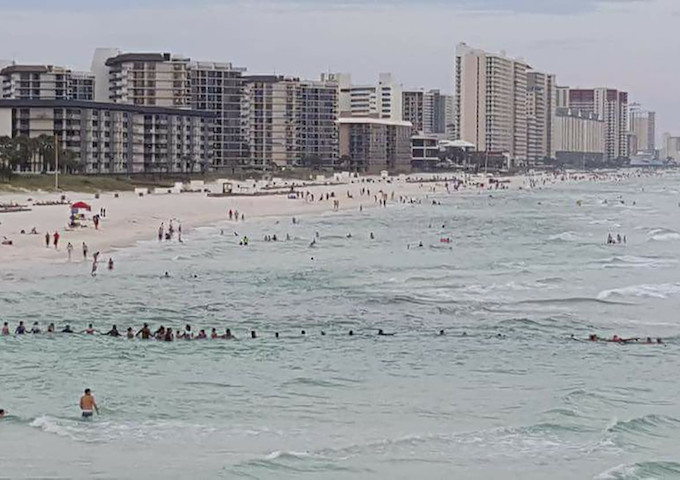 80-Person Human Chain on Panama City Beach