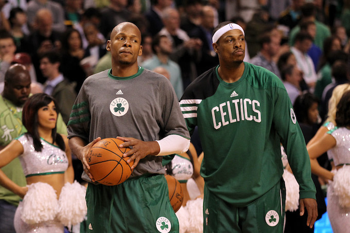 This is a picture of Ray Allen and Paul Pierce.