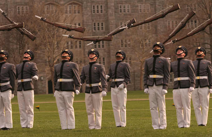 Members of West Point's famous rifle drill team