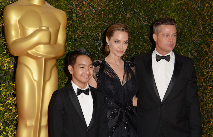 Angelina Jolie and Brad Pitt with their son Maddox at the Oscars in 2013.