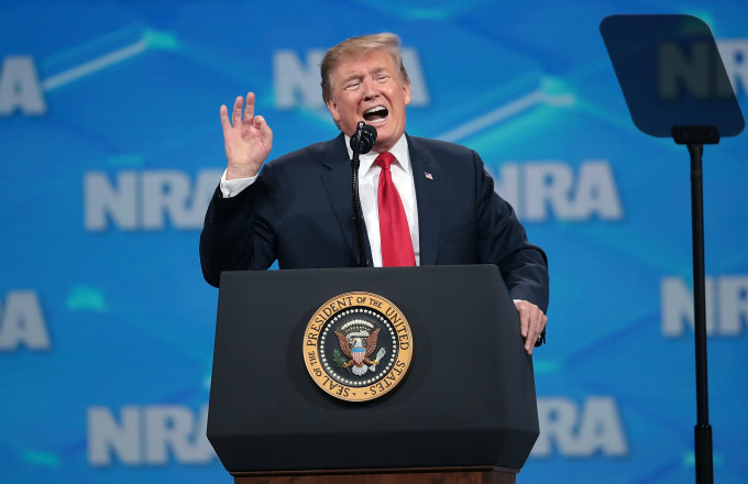 US President Donald Trump speaks to guests at the NRA-ILA Leadership Forum