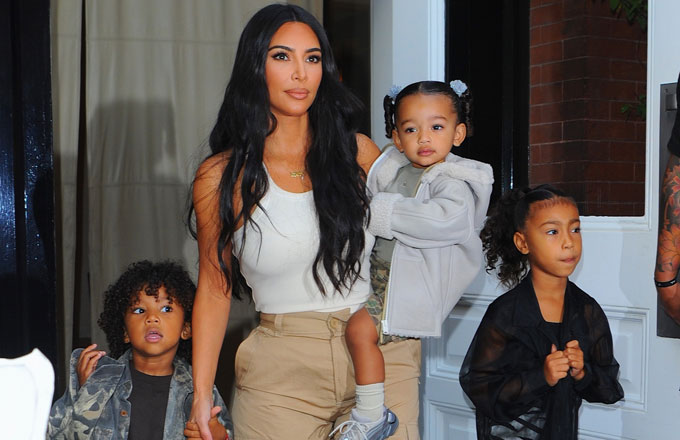 Kim Kardashian and the Kids seen leaving Hotel to attend a Sunday church service in Queens.