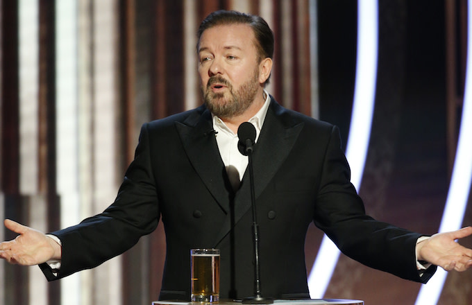 Ricky Gervais speaks onstage during the 76th Annual Golden Globe Awards .