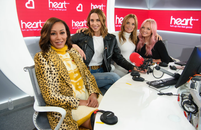 Spice Girls during a live appearance on the Heart Breakfast show