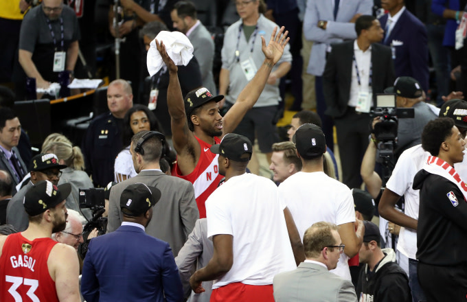 Kawhi Leonard #2 of the Toronto Raptors celebrates after the Toronto Raptors win the game